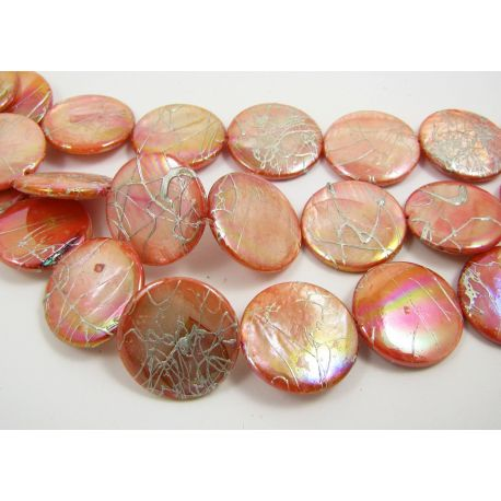 Perlų masės karoliukai, rausvos spalvos, monetos formos 20 mm, 1 gija