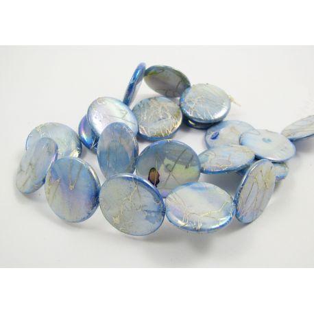 Perlų masės karoliukų gija, melsvos spalvos su AB danga ir sidabro spalvos juostelėmis, monetos formos, 20 mm