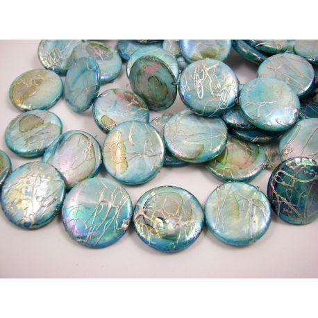 Perlų masės karoliukai, žaliai žydros spalvos su AB danga ir sidabro spalvos juostelėmis, monetos formos, 20 mm