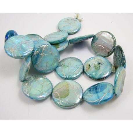 Perlų masės karoliukų gija, žaliai žydros spalvos, monetos formos,20 mm