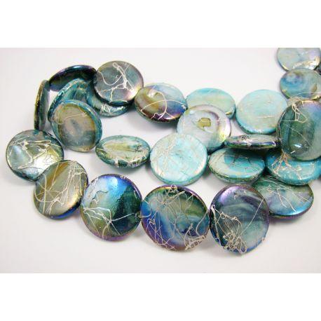 Perlų masės karoliukai, žaliai mėlynos spalvos su AB danga ir sidabro spalvos juostelėmis, monetos formos, 20 mm