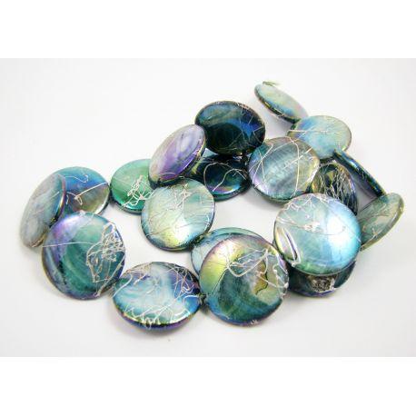 Perlų masės karoliukų gija, žaliai mėlynos spalvos su AB danga ir sidabro spalvos juostelėmis, monetos formos, 20 mm