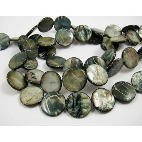 Perlų masės karoliukai, tamsiai mėlynos spalvos su AB danga ir sidabro spalvos juostelėmis, monetos formos, 20 mm