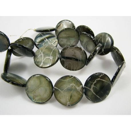 Perlų masės karoliukų gija, tamsiai mėlynos spalvos su AB danga ir sidabro spalvos juostelėmis, monetos formos, 20 mm