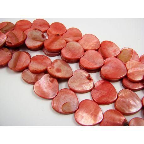 Perlų masės karoliukai, raudonos spalvos, širdelės formos, 15 mm