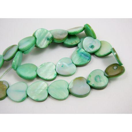 Perlų masės karoliukų gija, žalios spalvos, širdelės formos,15 mm