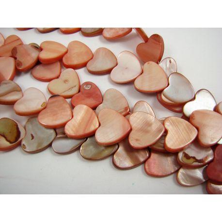 Perlų masės karoliukai, švieisiai oranžinės spalvos, širdelės formos, 15 mm