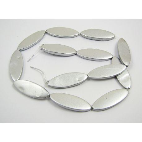 Perlų masės karoliukų gija, pilkos spalvos, blizgūs, dažyti, ovalo formos,30x10 mm