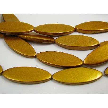 Perlų masės karoliukai, tamsios aukso spalvos, blizgūs, dažyti, ovalo formos 30x10 mm