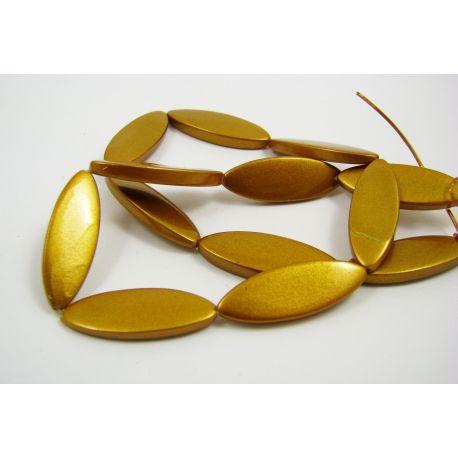 Perlų masės karoliukų gija, tamsios aukso spalvos, blizgūs, dažyti, ovalo formos,30x10 mm