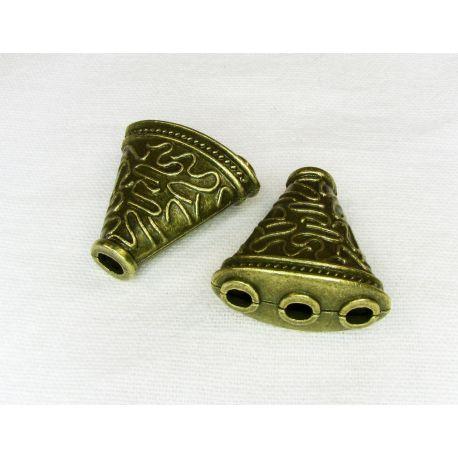 Kepurėlė skirta papuošalų gamybai karoliukų, akmenėlių papuošimui sendintos bronzinės spalvos 23x22 mm