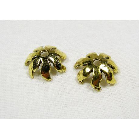 Kepurėlė skirta papuošalų gamybai, karoliukams, akmenukams, sendintos aukso spalvos 15x5 mm