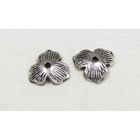 Kepurėlė, lapo formos, skirta papuošalų gamybai sidabro spalvos 11 mm