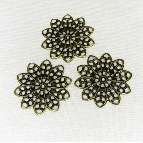 Ažūrinė plokštelė skirta papuošalų gamybai, sendintos bronzinės spalvos, 20 mm