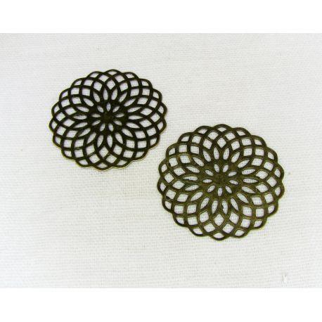 Ažūrinė plokštelė skirta papuošalų gamybai, sendintos bronzinės spalvos, 26 mm