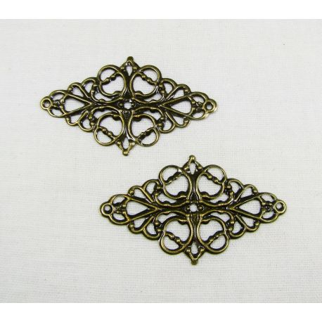 Ažūrinė plokštelė skirta papuošalų gamybai, sendintos bronzinės spalvos, 49x29 mm