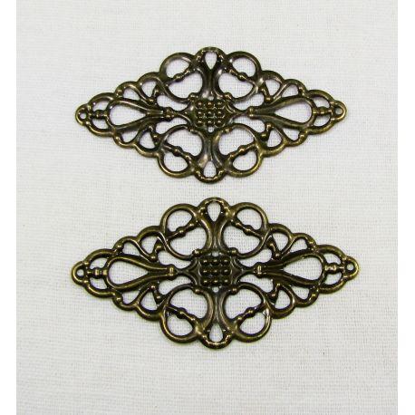 Ažūrinė plokštelė skirta papuošalų gamybai, sendintos bronzinės spalvos, 50x29 mm