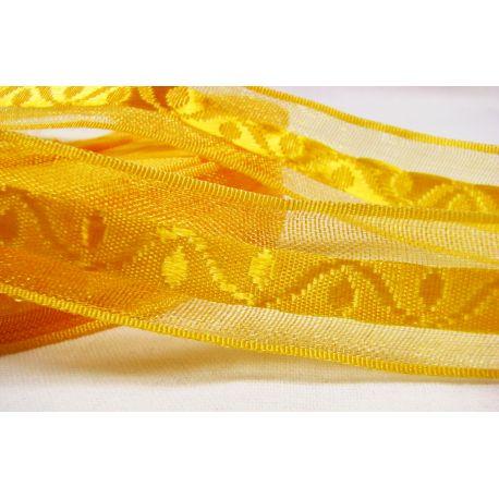 Satino juostelė su raštu rankdarbiams, papuošalams, ryškiai geltonos spalvos, 20 mm pločio, 1 metras