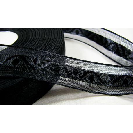 Satino juostelė su raštu rankdarbiams, papuošalams, juodos spalvos, 20 mm pločio, 1 metras