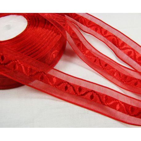 Satino juostelė su raštu rankdarbiams, papuošalams, raudonos spalvos, 20 mm pločio, 1 metras