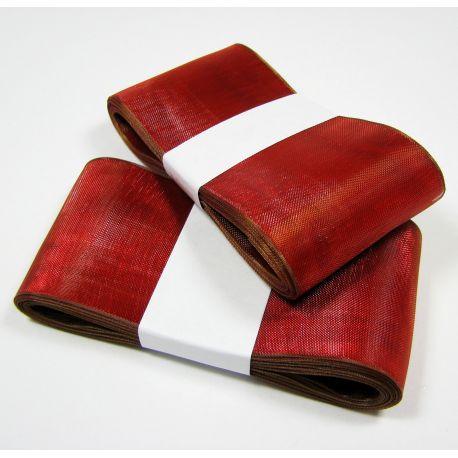 Organzos juostelė, raudonos spalvos su rudu krašteliu 40 mm pločio, 5 metrai