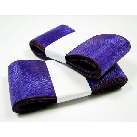 Organzos juostelė, ryškiai mėlynos spalvos su violetiniu krašteliu 40 mm pločio, 5 metrai