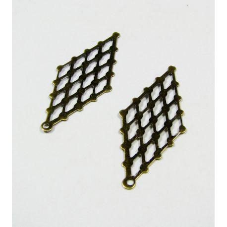 Ažūrinė plokštelė skirta papuošalų gamybai, sendintos bronzinės spalvos, 32x14 mm