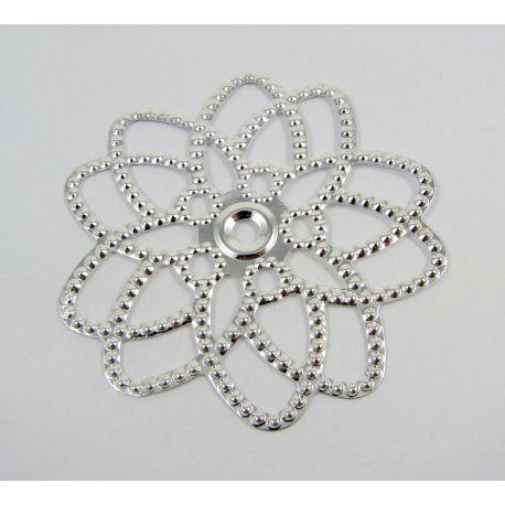 Ažūrinė plokštelė - gėlytė skirta papuošalų gamybai, sidabro spalvos, 23x23 m