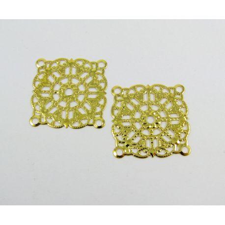 Ažūrinė plokštelė - skirta papuošalų gamybai, aukso spalvos, 23x23 mm