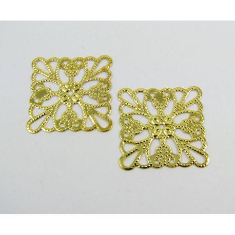 Ažūrinė plokštelė skirta papuošalų gamybai, aukso spalvos, 24 mm