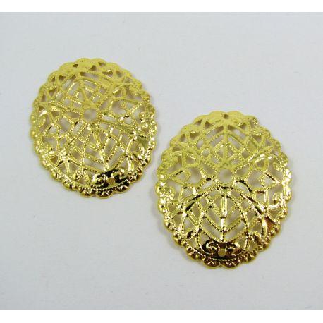 Ažūrinė plokštelė skirta papuošalų gamybai, ovalo formos, aukso spalvos, 30x24 mm