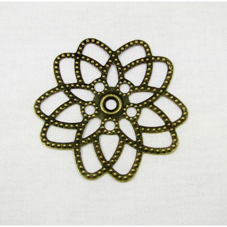 Ažūrinė plokštelė - gėlytė skirta papuošalų gamybai, bronzinės spalvos, 23x23 m