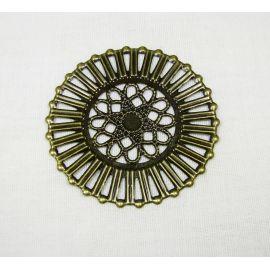 Ažūrinė plokštelė -skirta papuošalų gamybai, bronzinės spalvos, 51 mm