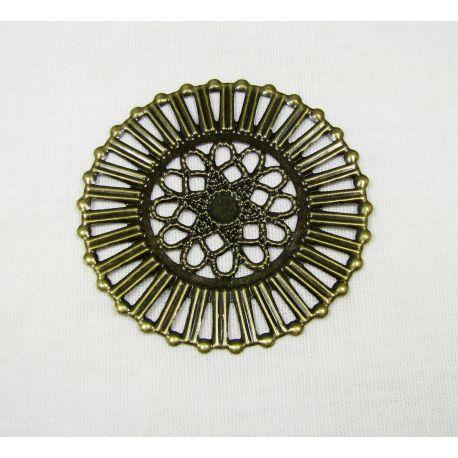 Ažūrinė plokštelė - skirta papuošalų gamybai, sendintos bronzinės spalvos, 51mm