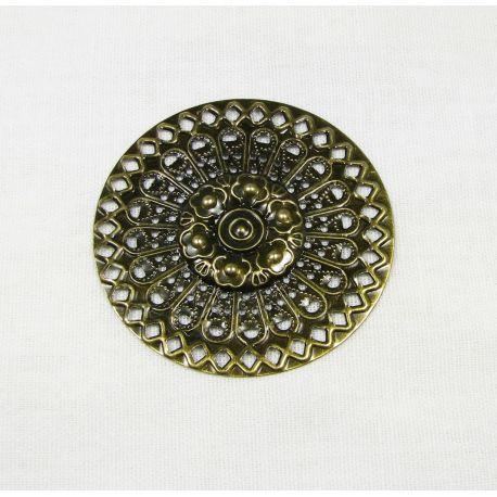 Ažūrinė plokštelė - skirta papuošalų gamybai,sendintos bronzinės spalvos, 48 mm