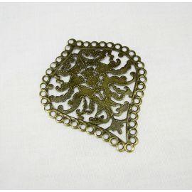 Ažūrinė plokštelė lapas,skirta papuošalų gamybai, bronzinės spalvos, 67x55mm