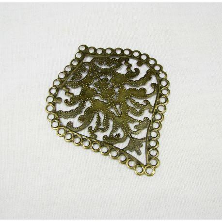 Ažūrinė plokštelė - skirta papuošalų gamybai,sendintos bronzinės spalvos, 67x55 mm