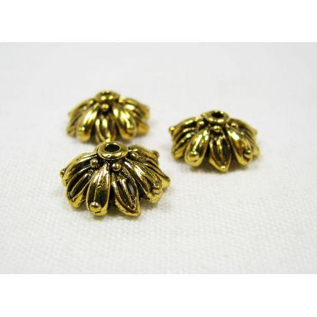 Kepurėlė skirta papuošalų gamybai sendintos aukso spalvos 13x6 mm