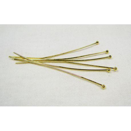 Smeigtukai skirti papuošalų gamybai aukso spalvos su burbuliuku 54x0,7 mm, 100 vnt.