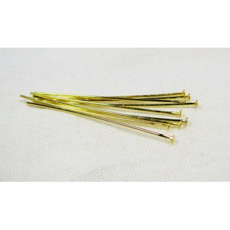 Smeigtukai skirti papuošalų gamybai aukso spalvos su plokščia galvute 35x0,6 mm, 100 vnt.