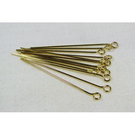 Smeigtukai skirti papuošalų gamybai aukso spalvos su kilpute 35x0,6 mm, 100 vnt.