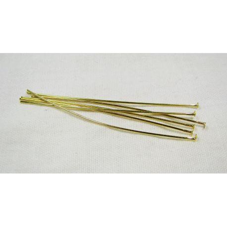 Smeigtukai skirti papuošalų gamybai aukso spalvos su plokščia galvute 60x0,7 mm, 100 vnt.