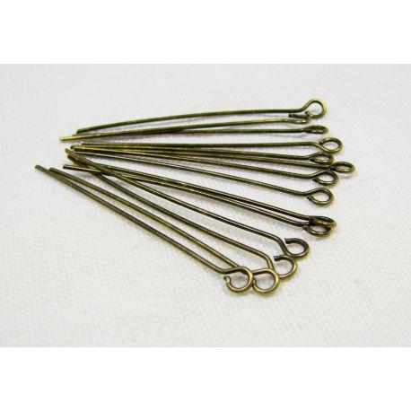 Smeigtukai skirti papuošalų gamybai bronzinės spalvos su kilpute 35x0,6 mm, 100 vnt.