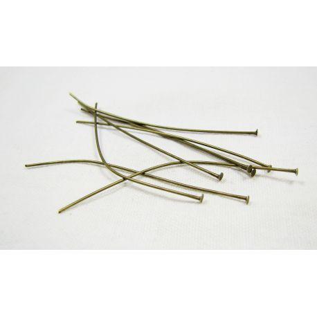 Smeigtukai skirti papuošalų gamybai bronzinės spalvos su plokščia galvute 60x0,7 mm, 100 vnt.