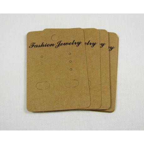 Papuošalų, rankdarbių eksponavimo kartotinė kortelė auskarams, rudos spalvos 40x30 mm