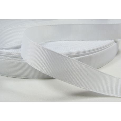 Satino juostelė rankdarbiams, papuošalams, baltos spalvos, 16 mm pločio, 1 metras