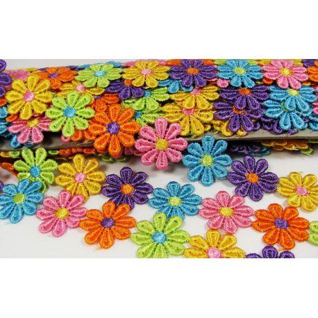 Juostelė su gėlytėmis rankdarbiams, papuošalams, įvairių spalvos, 16 mm pločio, 1 metras