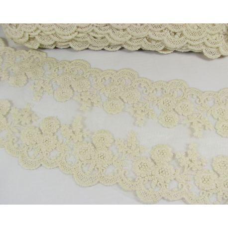 Ažūrinė juostelė rankdarbiams, papuošalams, baltos spalvos, 100-1005 mm pločio, 1 metras