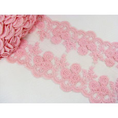 Ažūrinė juostelė rankdarbiams, papuošalams, rožinės spalvos, 100-1005 mm pločio, 1 metras