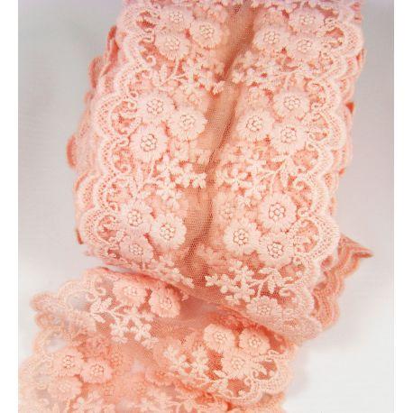 Ažūrinė juostelė rankdarbiams, papuošalams, rausvai persiko spalvos, 100-1005 mm pločio, 1 metras